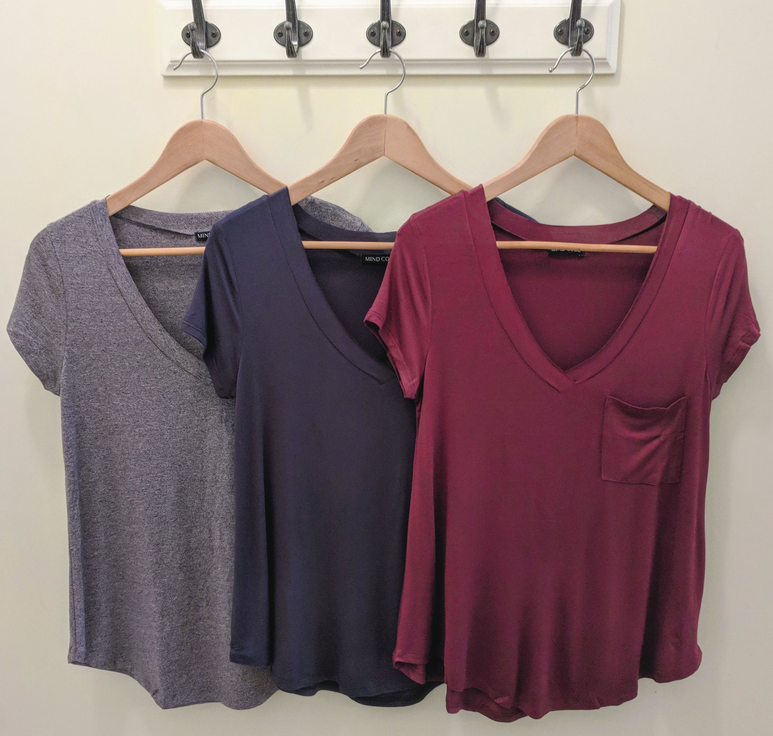 Orchid, Pine and Grey v-neck t-shirts.