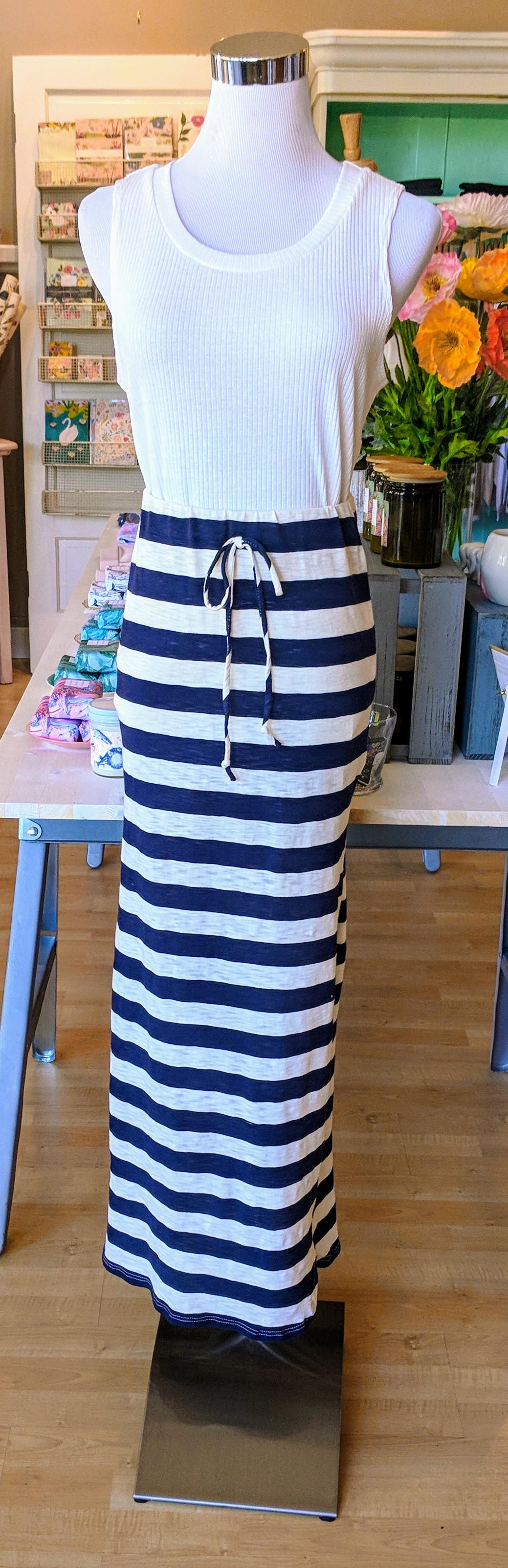 Navy and cream stripe skirt