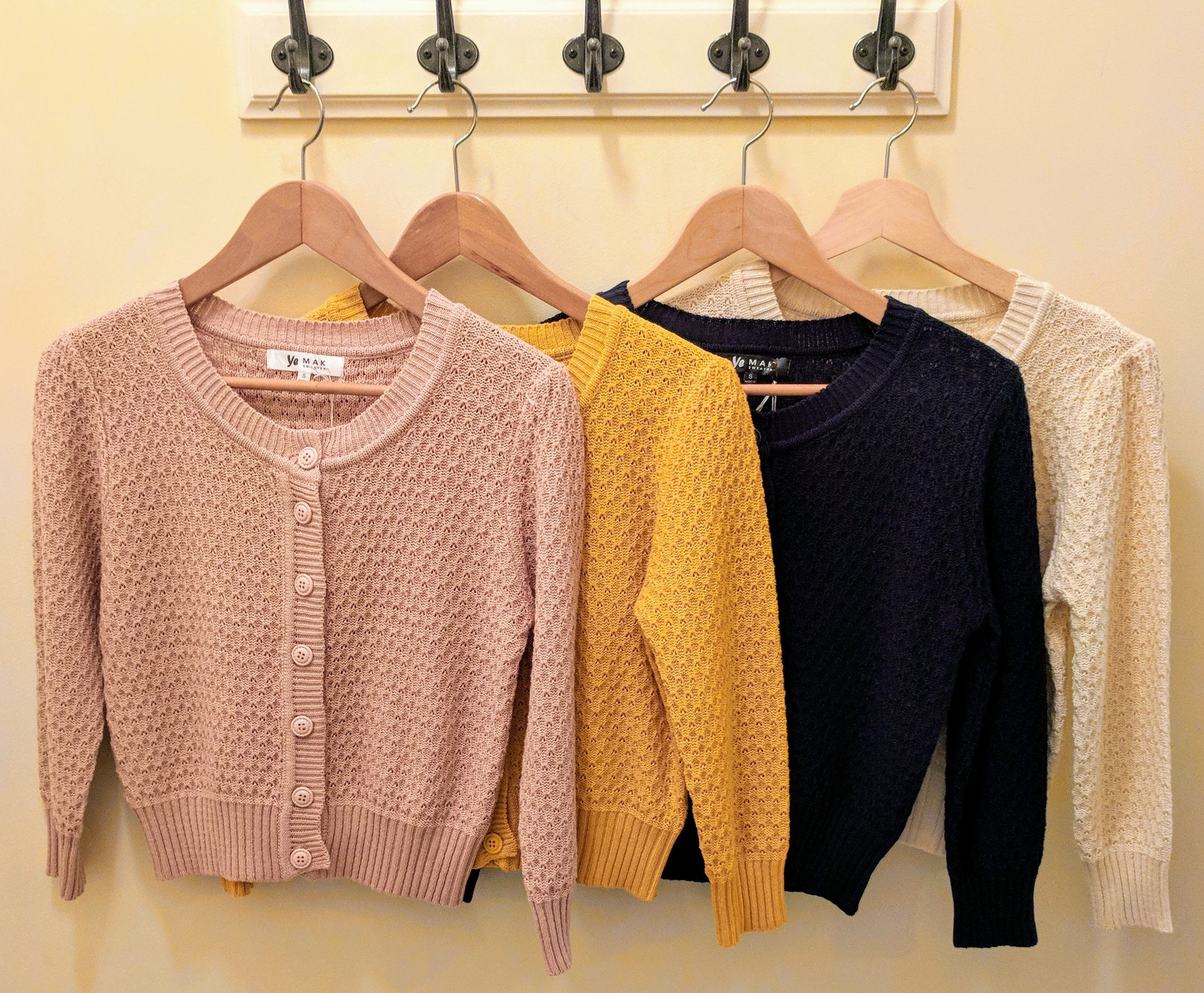 Cushion knit button up cardi. Peach, Mustard, Navy and Ivory.