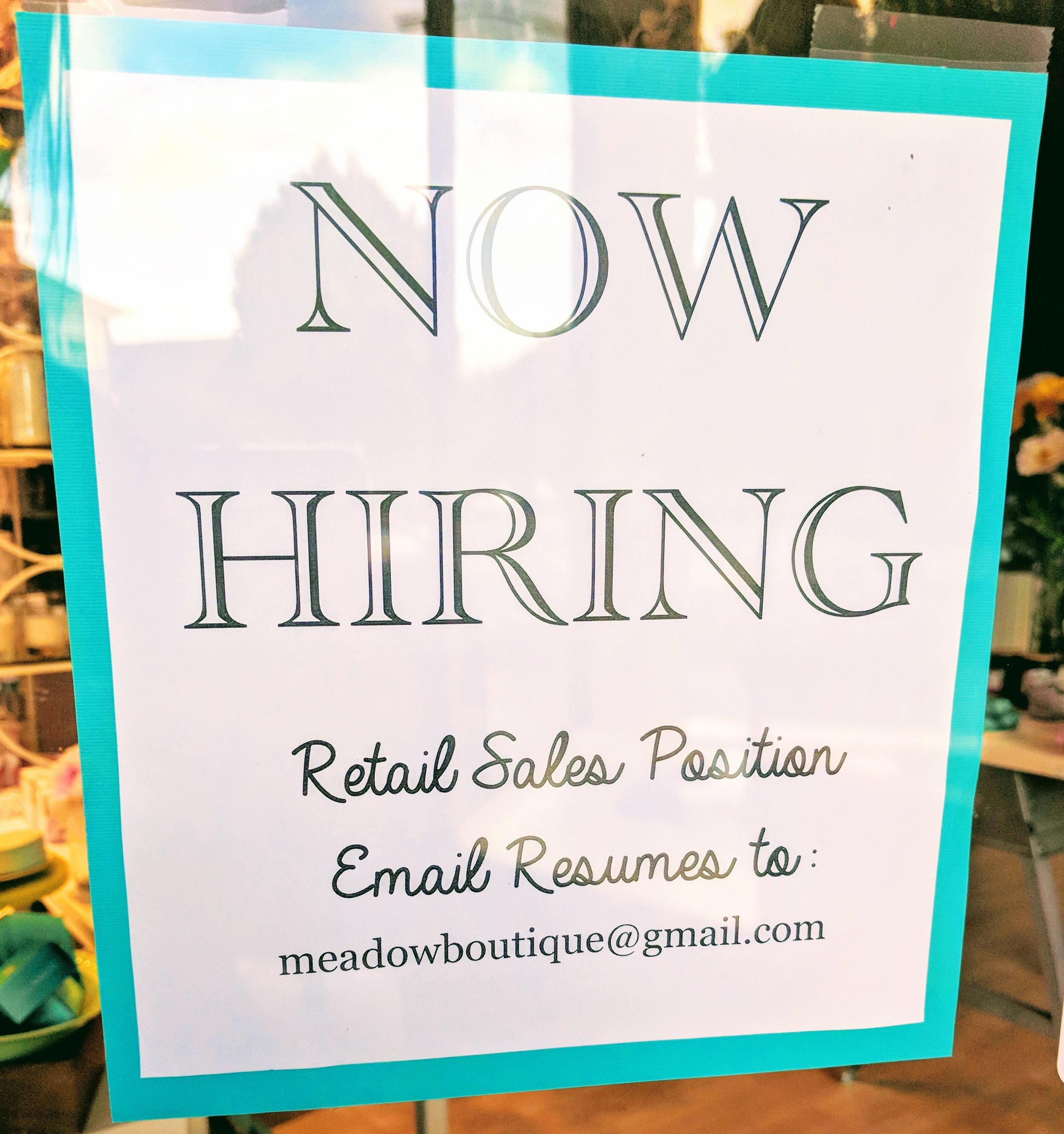 Now Hiring at Meadow, apply at meadowboutique@gmail.com!