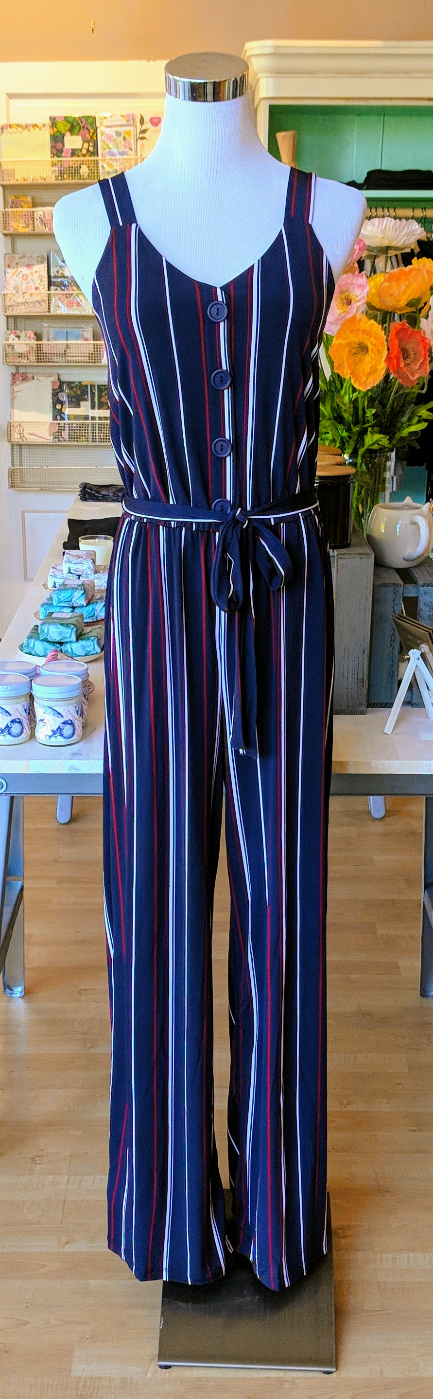Navy and Burgundy pin stripe jumpsuit with tie waistband.