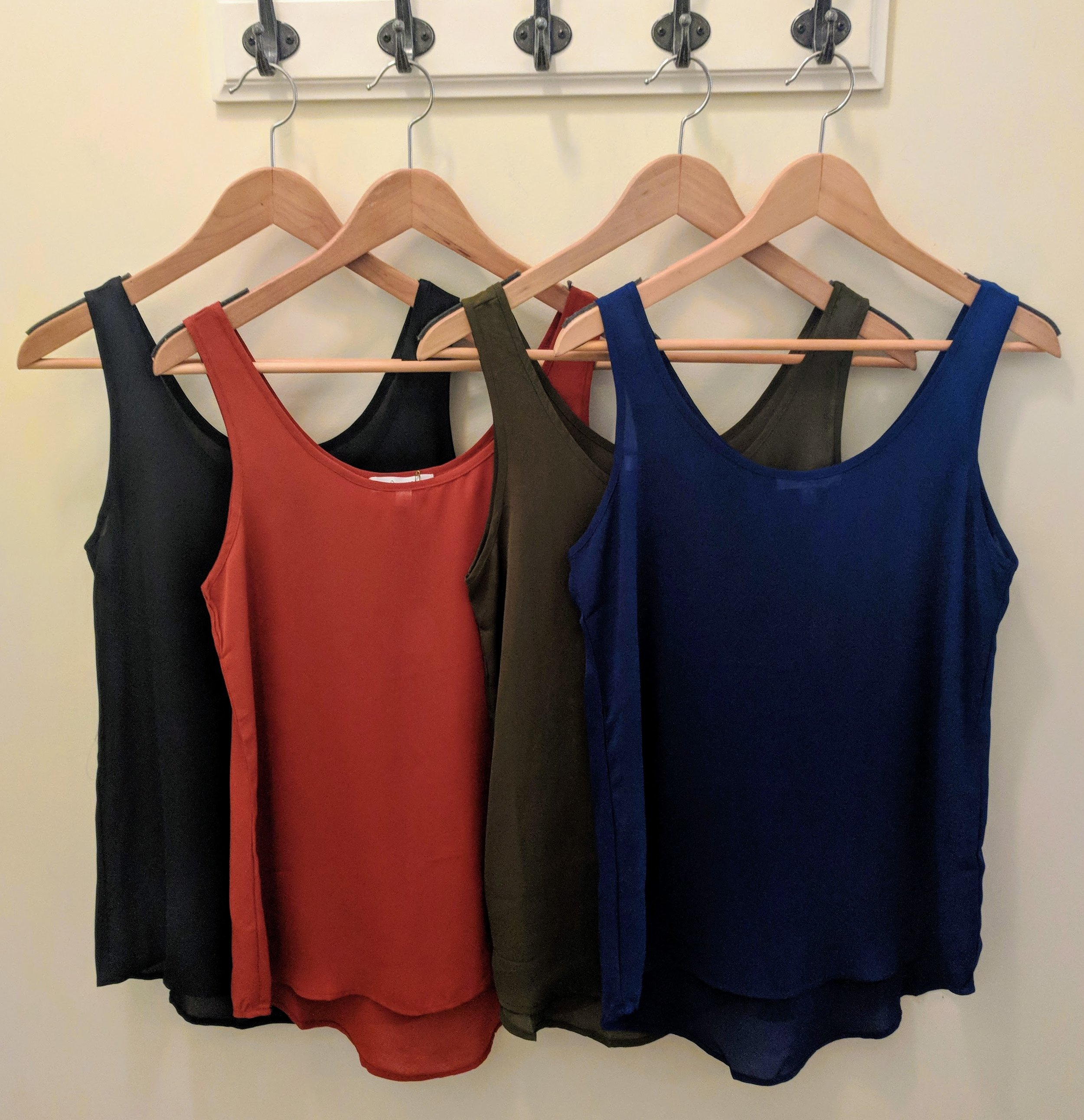 Black, Rust, Olive and Navy chiffon tank top.