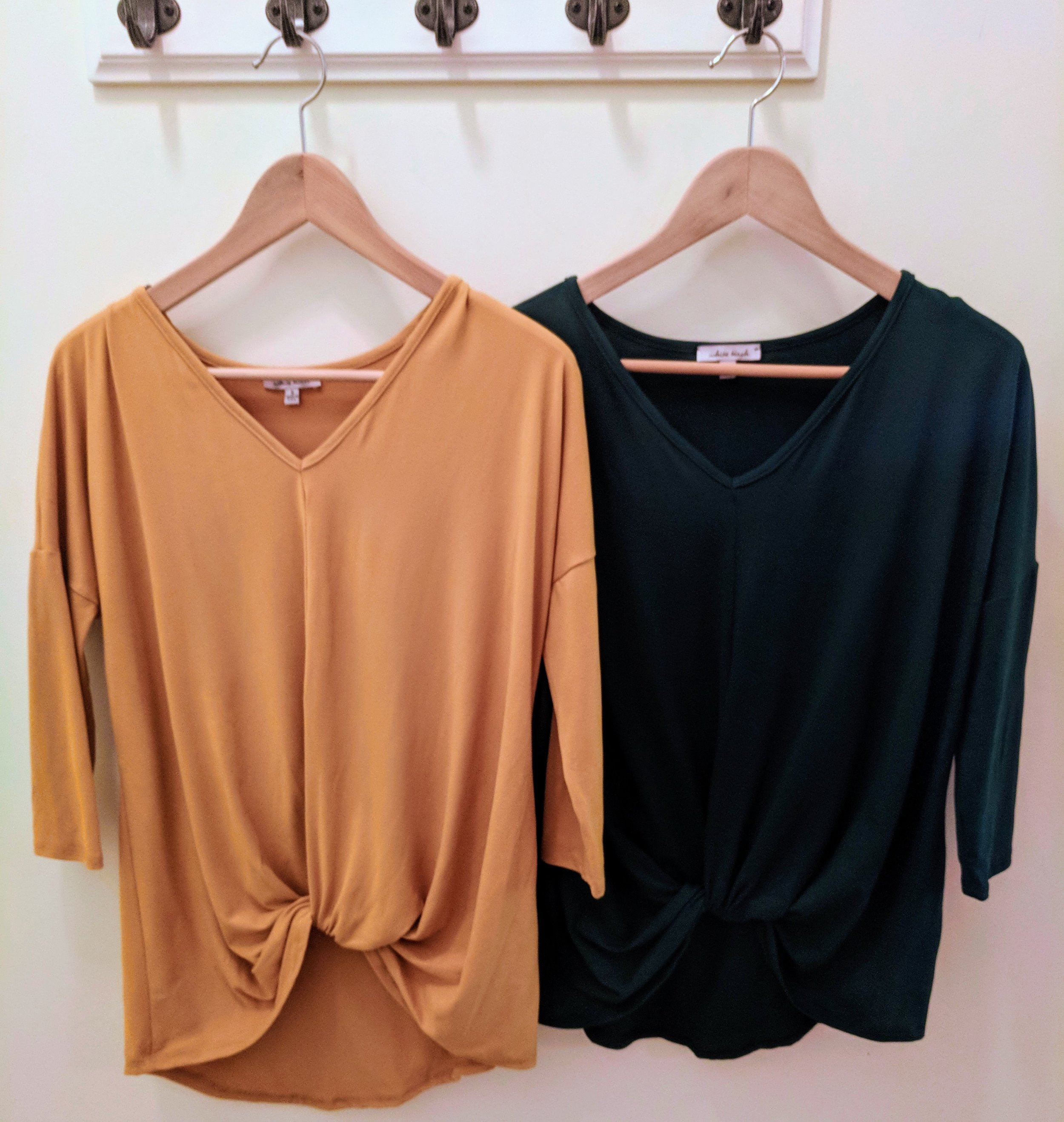 Mustard and Black super soft knot top with 3/4 sleeve and v-neck.