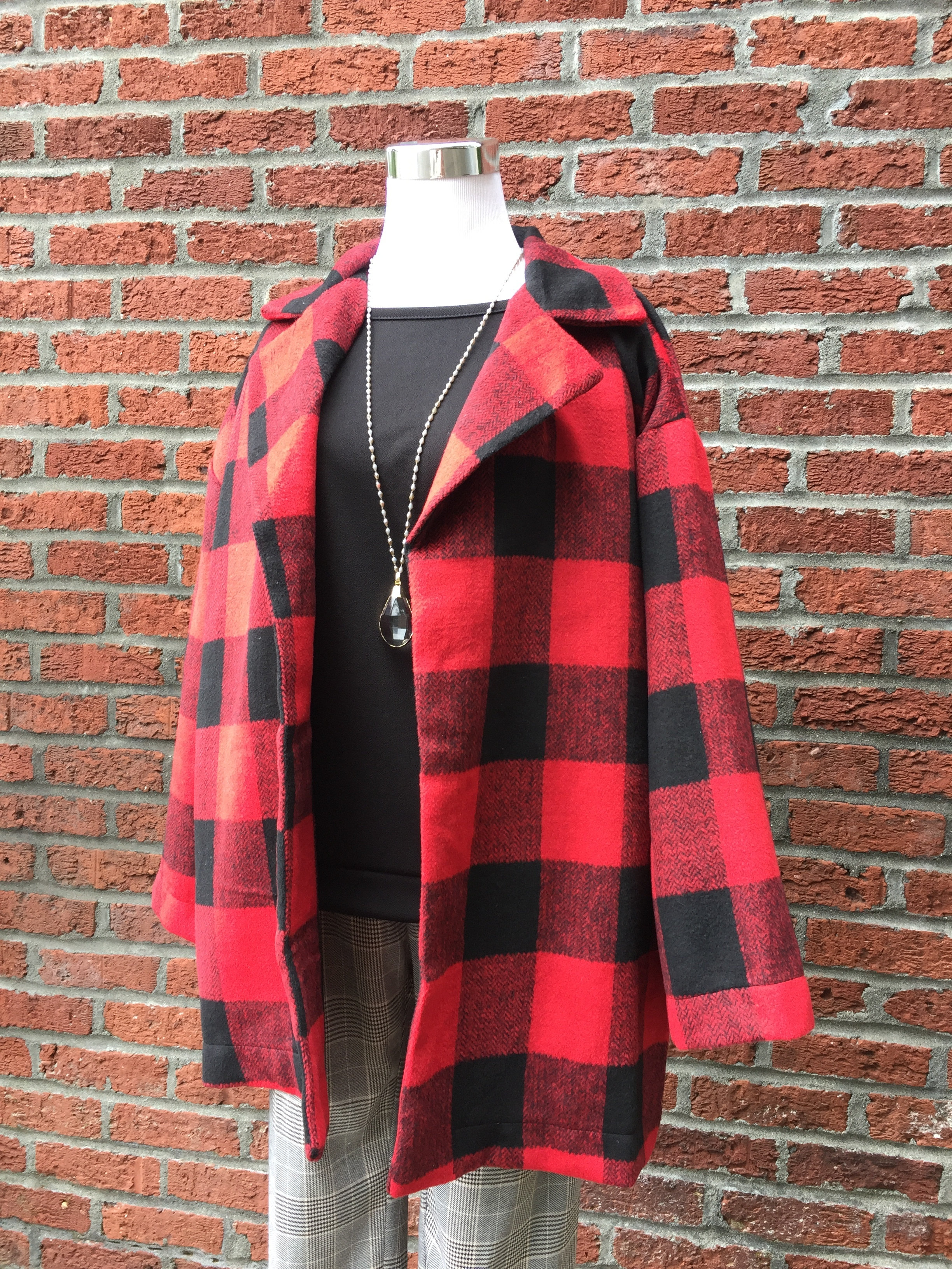 Plaid Coat (Red and Black)