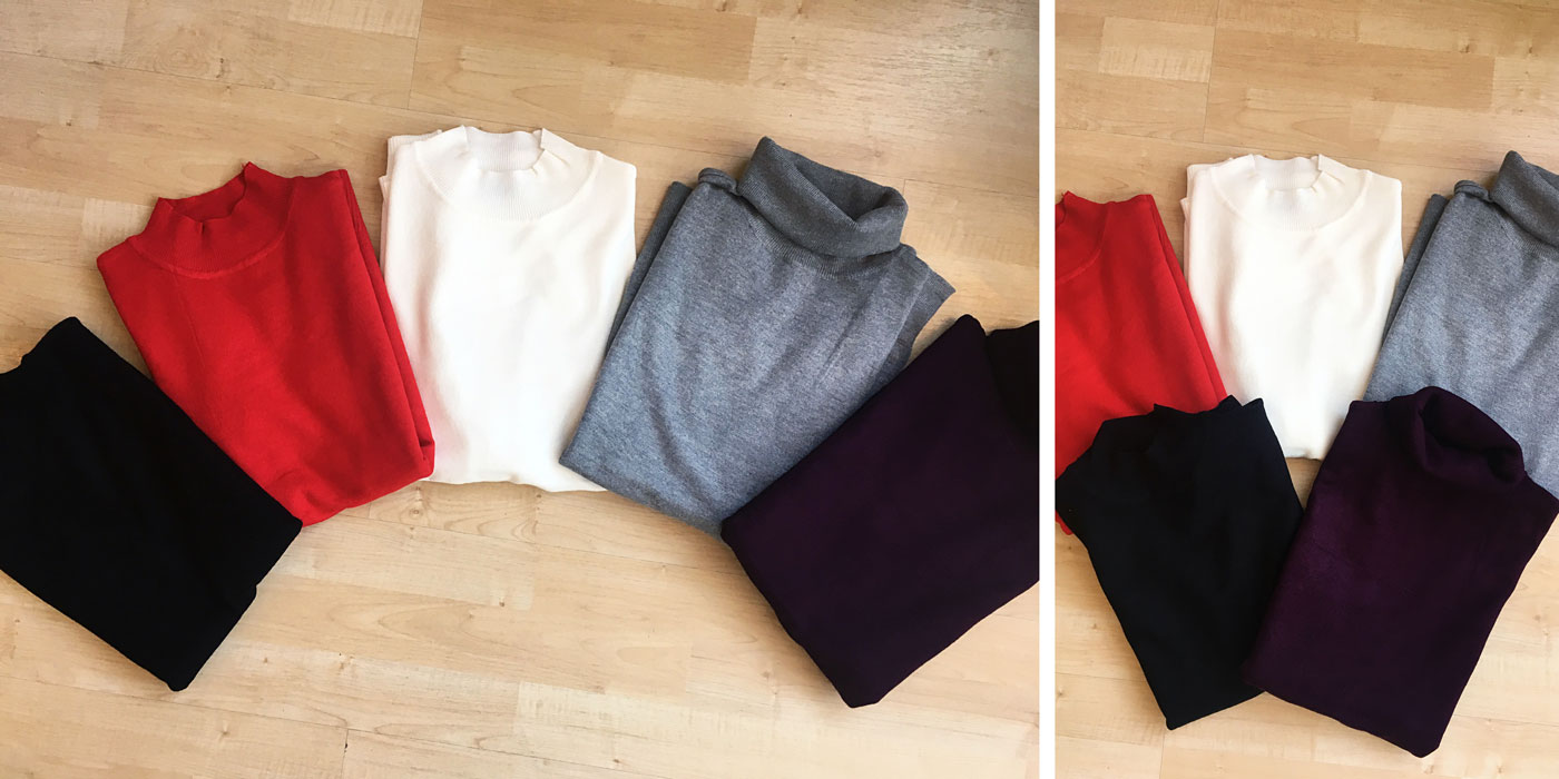 Turtlenecks and mocknecks in several colors are a staple this fall and winter.