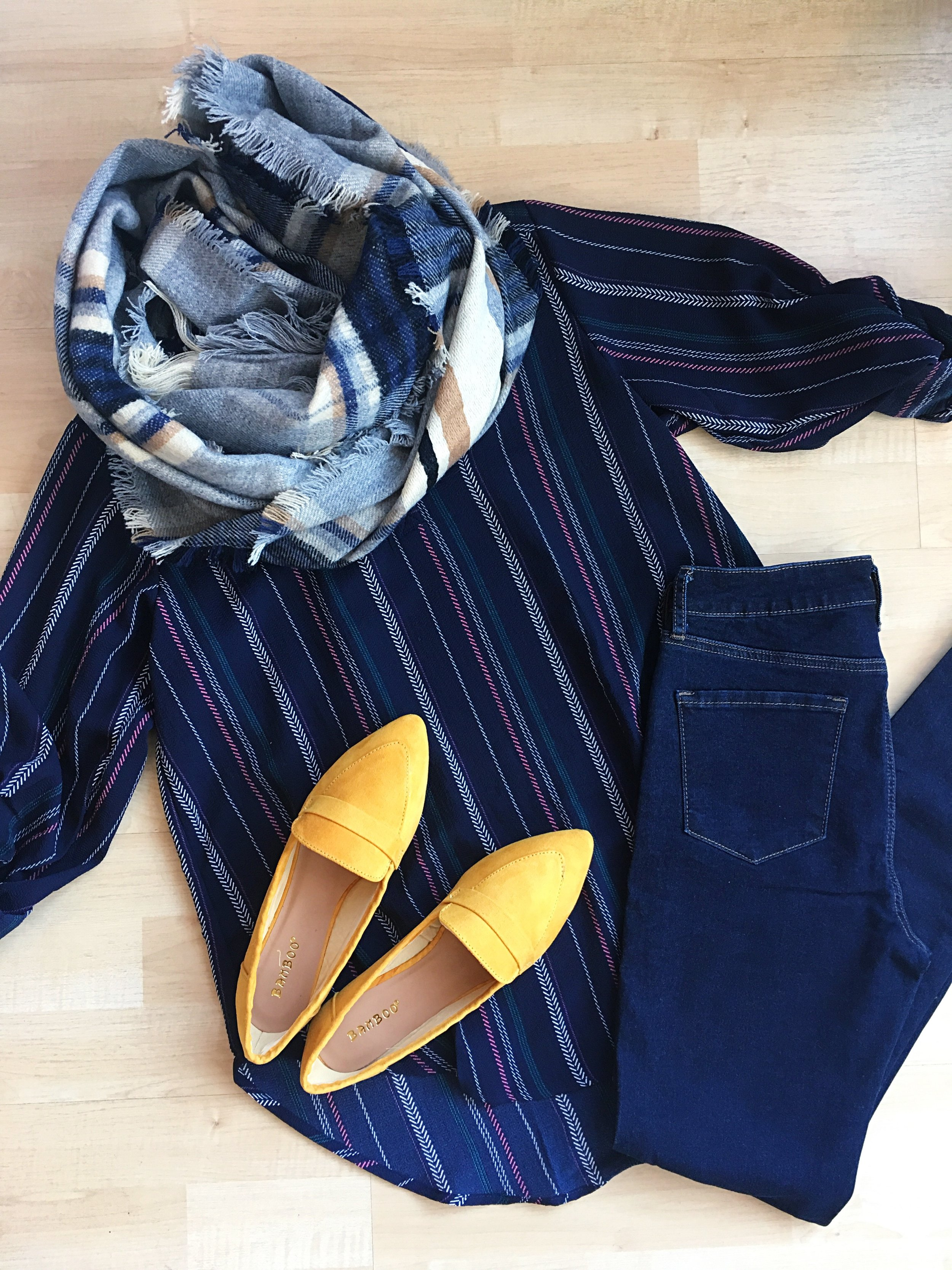 A pop of color in a sea of blue and navy - come check out these mustard flats!