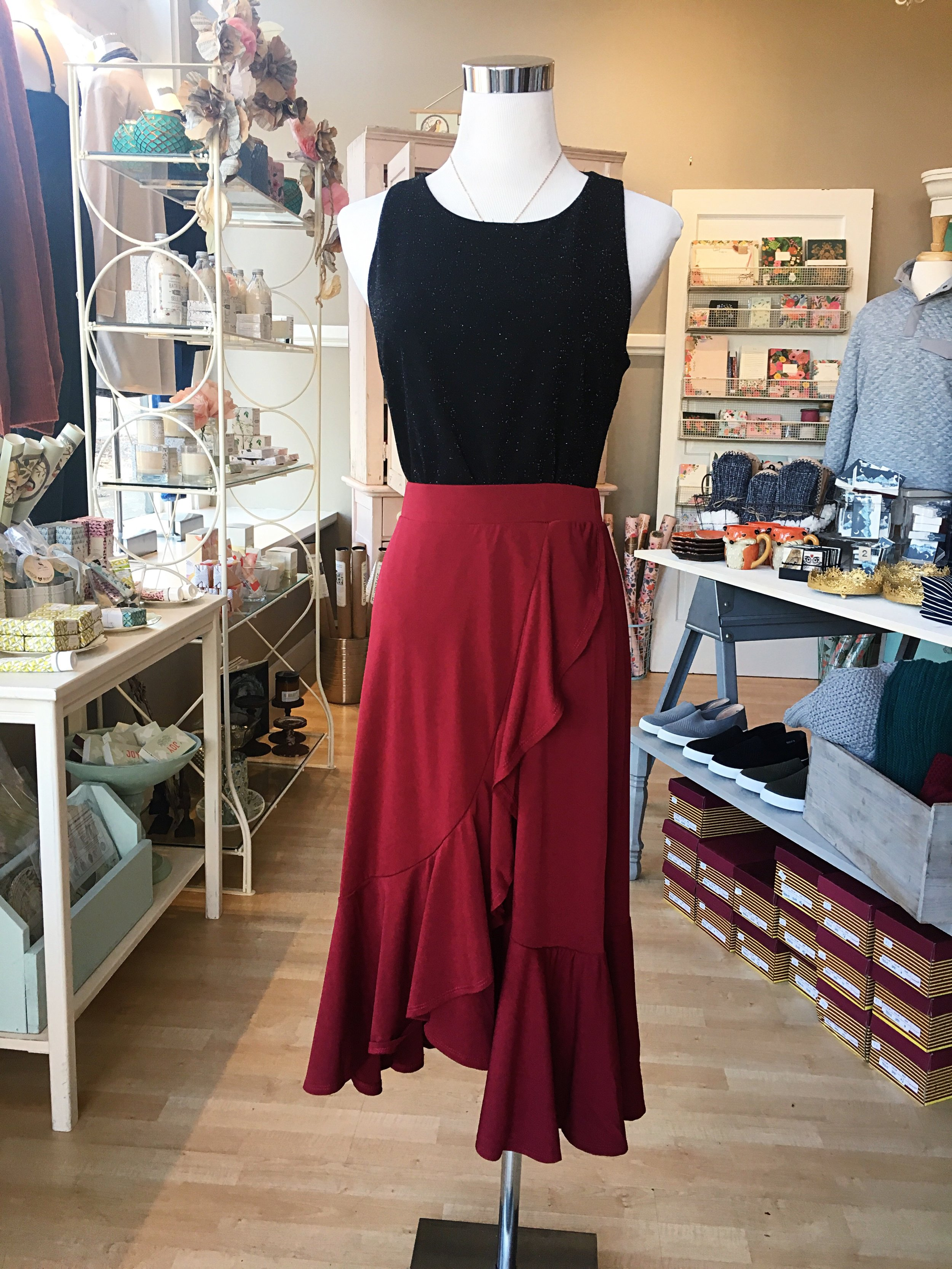 This lovely holiday skirt is flirty and fun! Dance the night away in this lovely red number.
