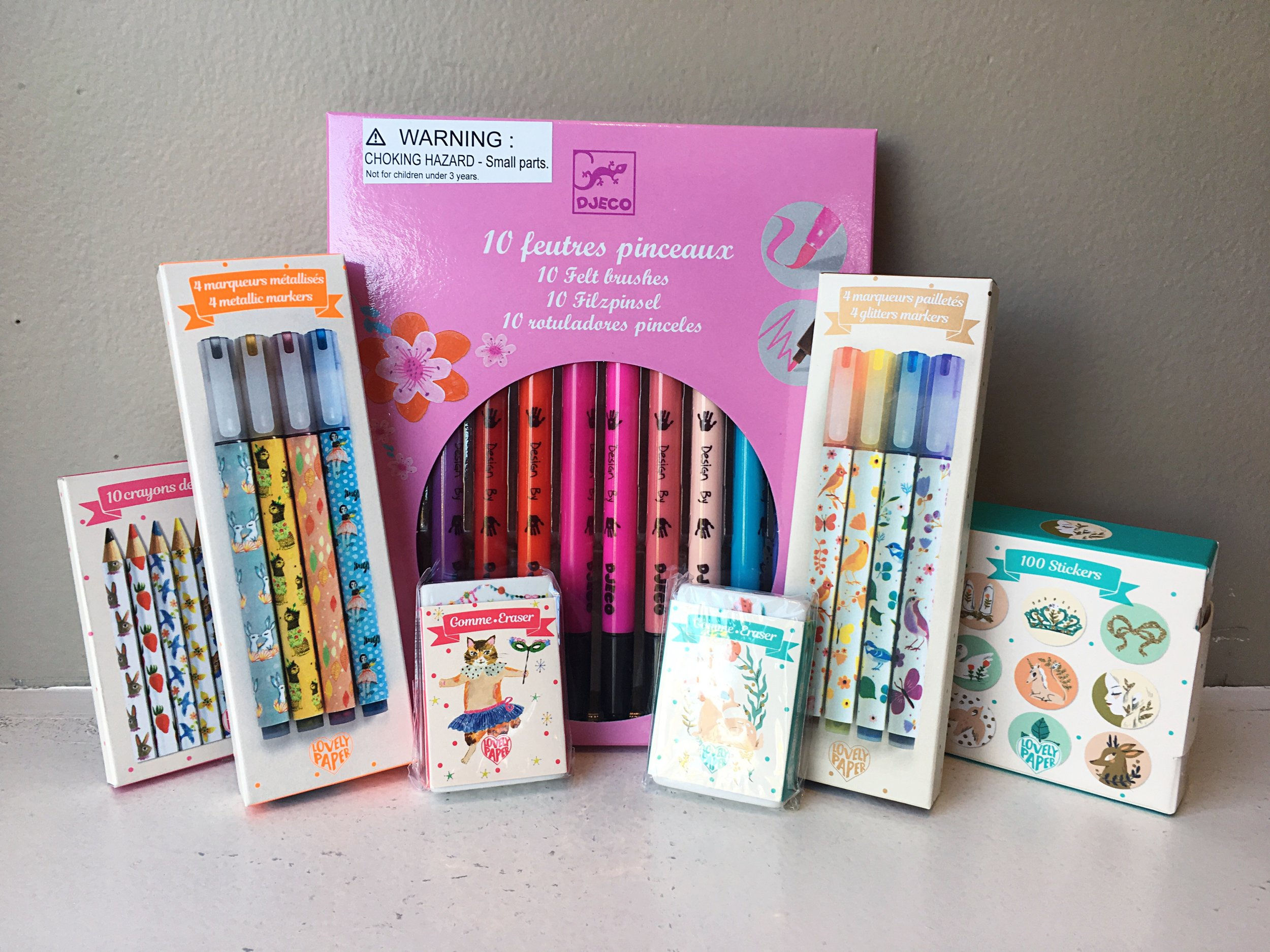Markers, pens, stickers and erasers featuring adorable fawns and kitties.