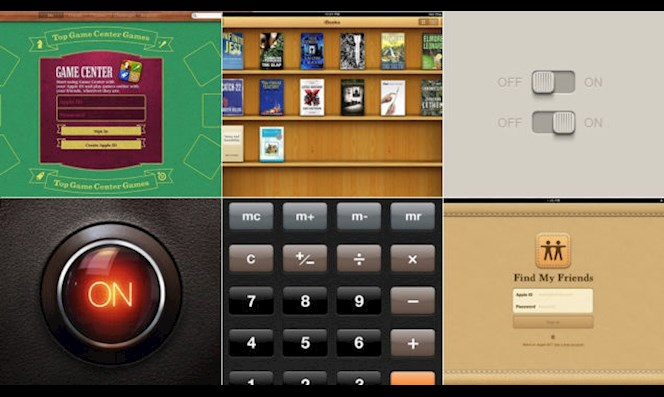Here are some examples of Apple's Skeuomorphic designs, which give off a familiar and less foreign vibe because they resemble real-world objects in a digital universe.