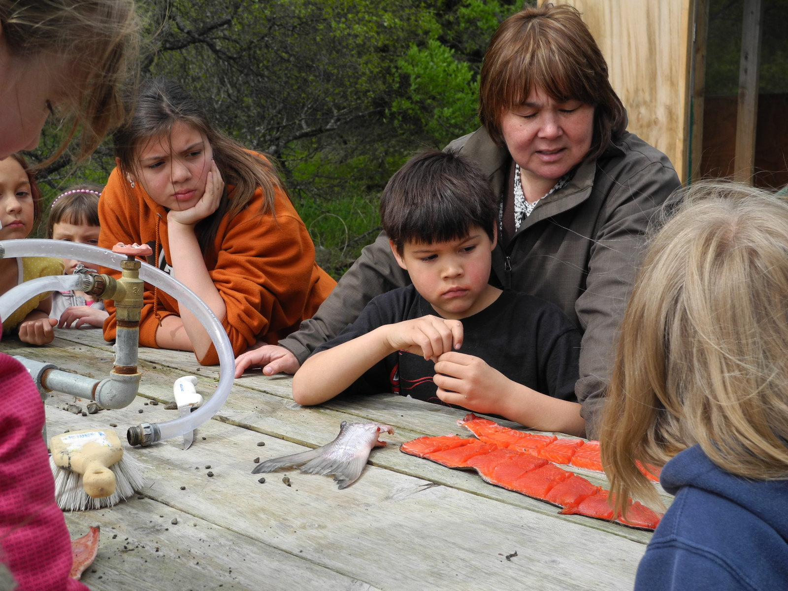 Children learning how to prepare salmon at the Curyung Tribal Culture Camp in Dillingham, AK.