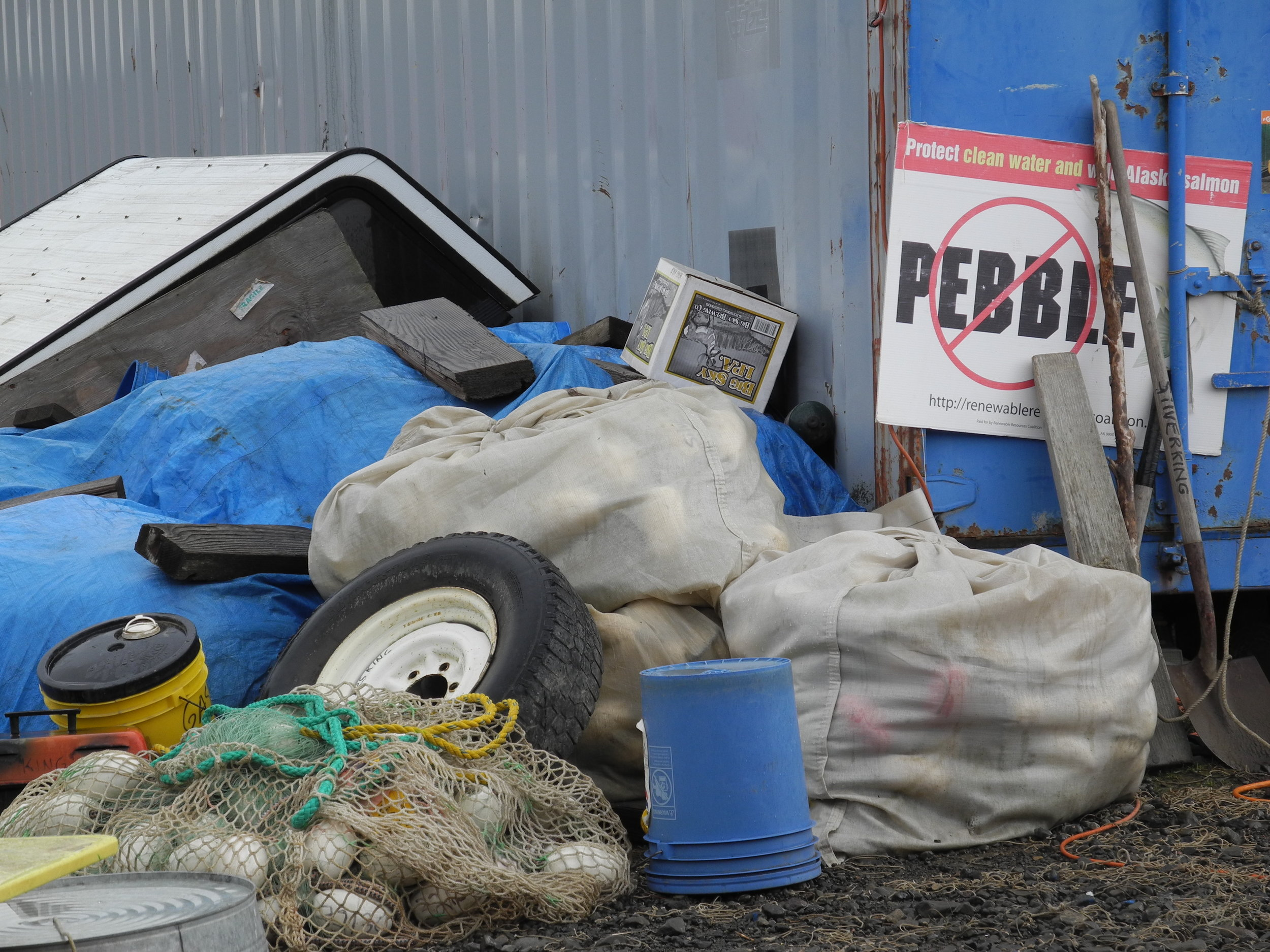 Commercial fishing equipment at the boat yard in Dillingham, Alaska