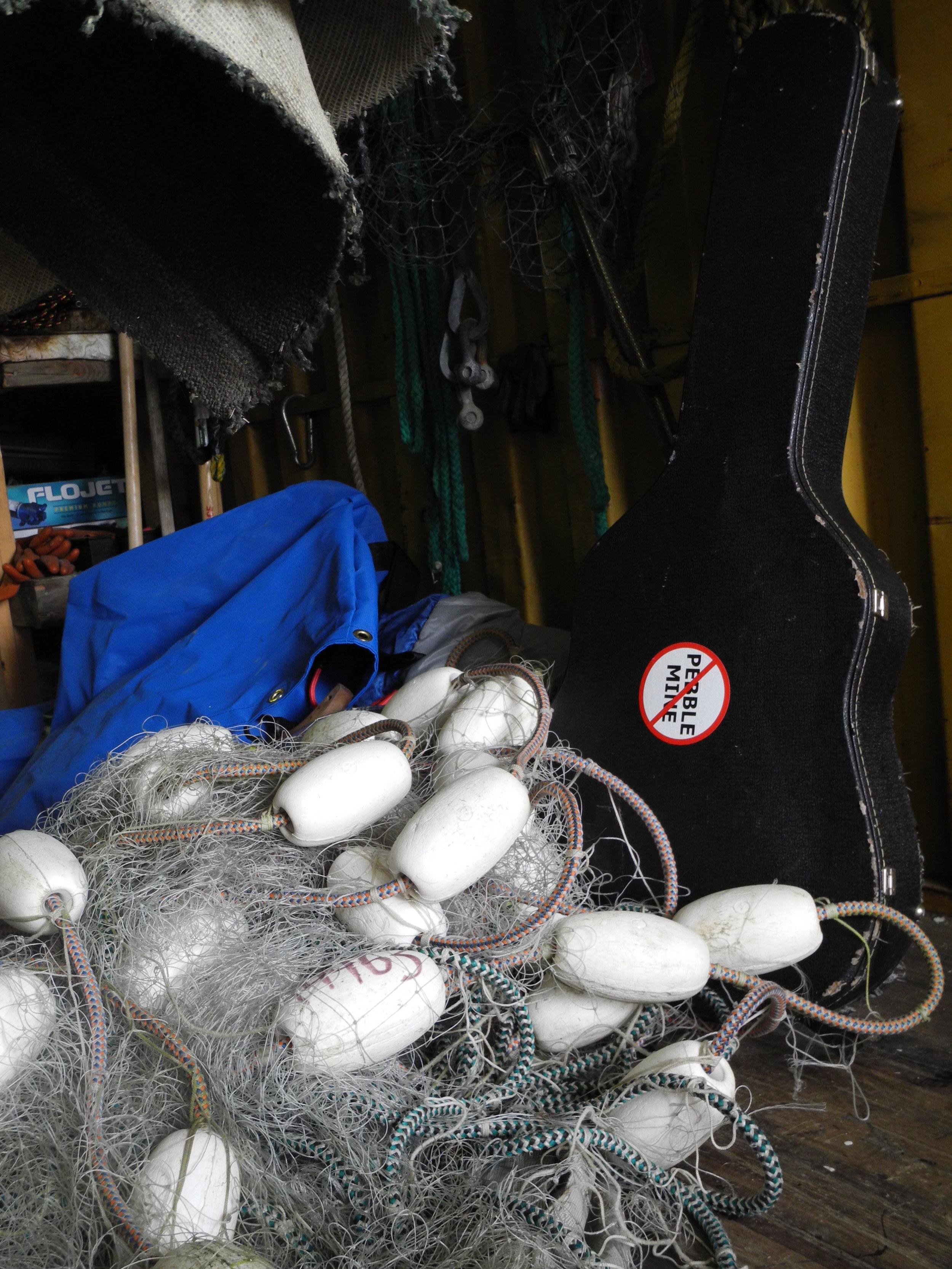 Fishing net and guitar in Dillingham, AK