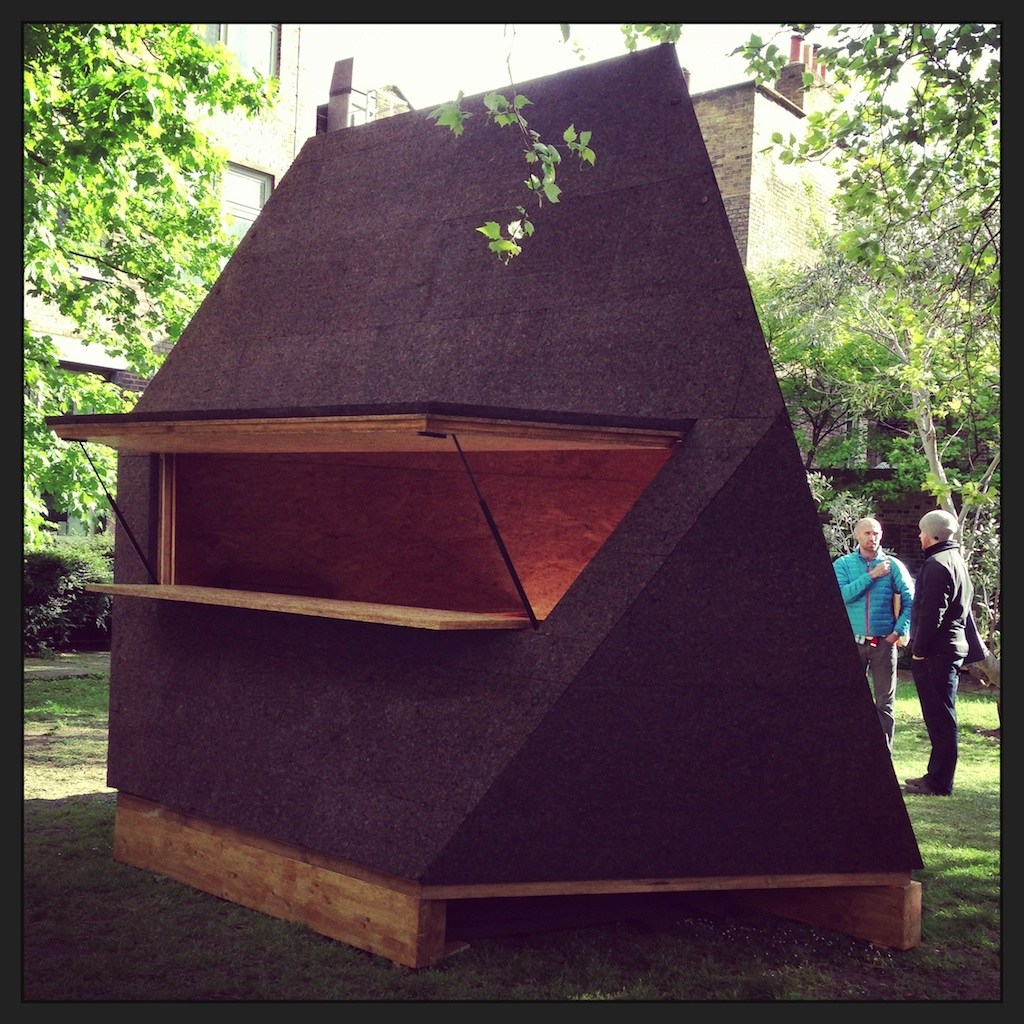 These looked fantastic up close - the angular, cork-covered  Tetrasheds  which won an Elle Decoration Award last year and have been sold for use as home offices, bars, an extra room and even a pool house.