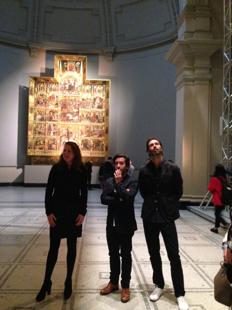 Edward Barber and Jay Osgerby explaining their extraordinary installation in the Raphael Gallery at the V&A