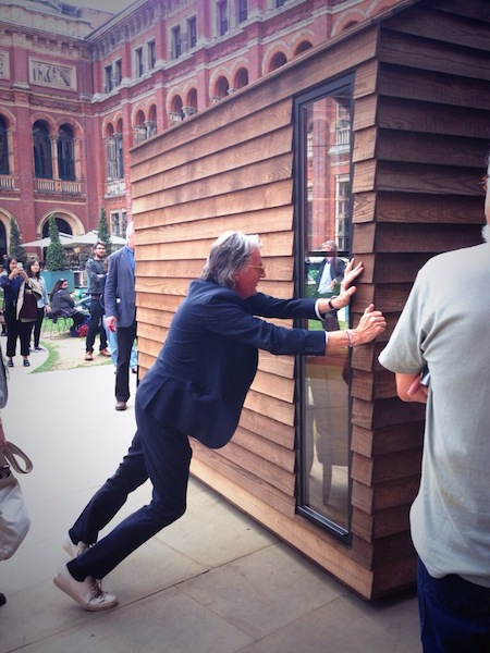 Paul Smith was there demonstrating his revolving shed which was designed with  Nathalie de Leval  and made from thermally modified ash for the Wish List project.