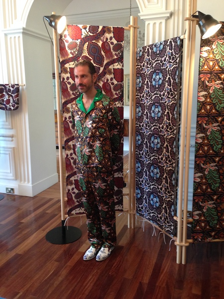 Loved this pyjama wearing dude at the Klaus Haapaniemi launch. The fabrics are lovely, they have a William Morris vibe.