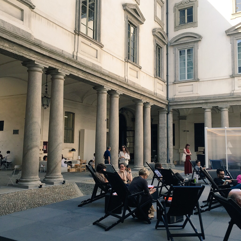 In the light-filled 17th century courtyard of Palazzo Litta, in the  5Vie district , there were USB charging stations supplied by  Punkt  next to the deckchairs in a neat juxtaposition of the very old and the very new. I learnt that if you put your phone into airplane mode it charges faster.