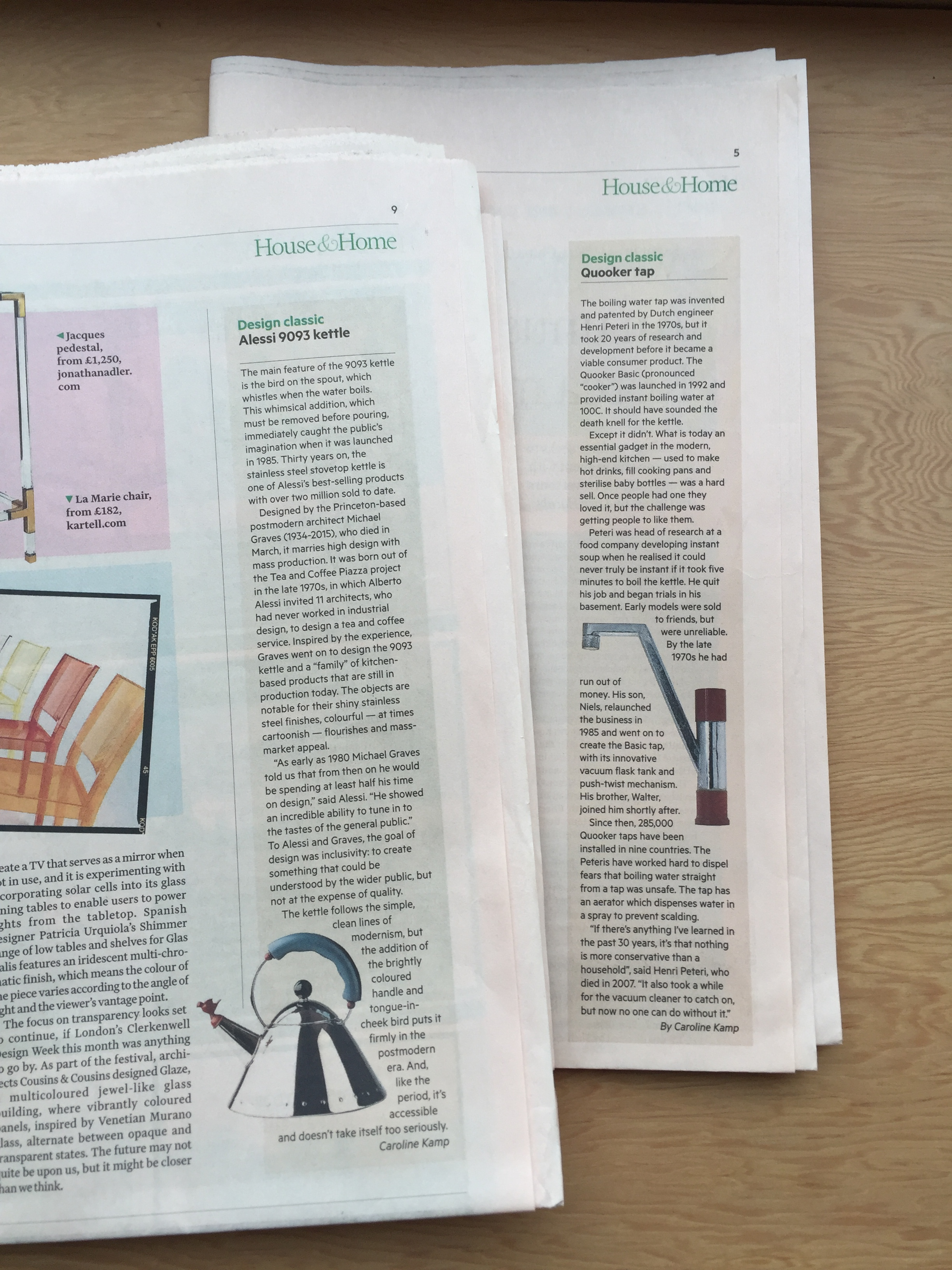 I've written a few Design Classics for The  FT's House & Home .