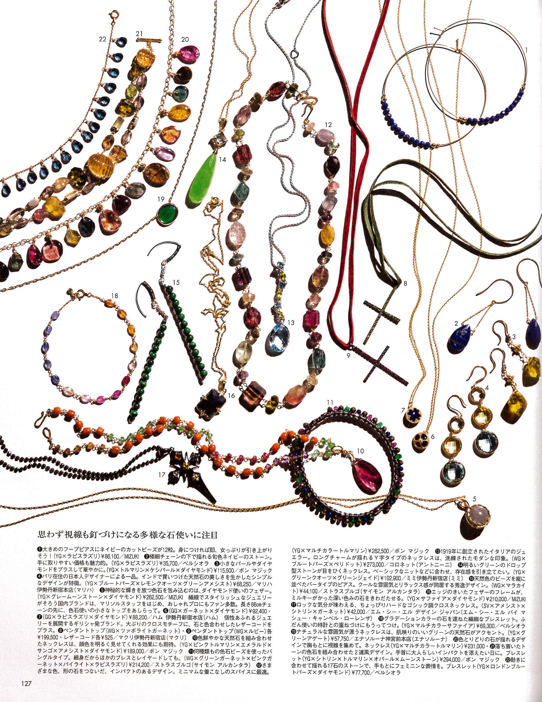 Marisol Magazine Japan Dec 2013 issue: White gold bangle with various stones, sterling silver and malachite bar earrings