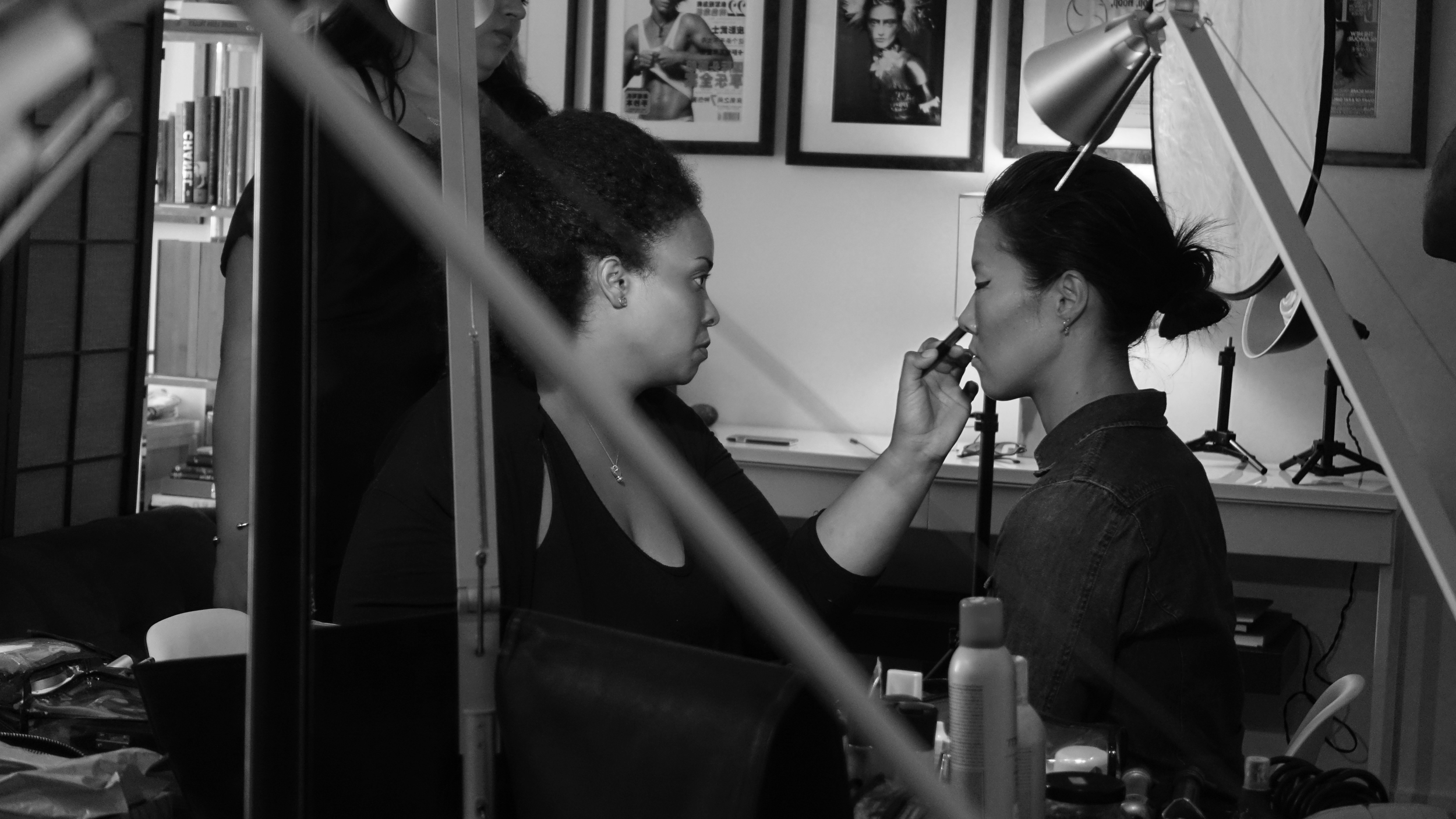 Makeup artist Griselle Rosario and Model Riji Suh on the set of StarChild August 28, 2015. Photo by Simon Alcantara