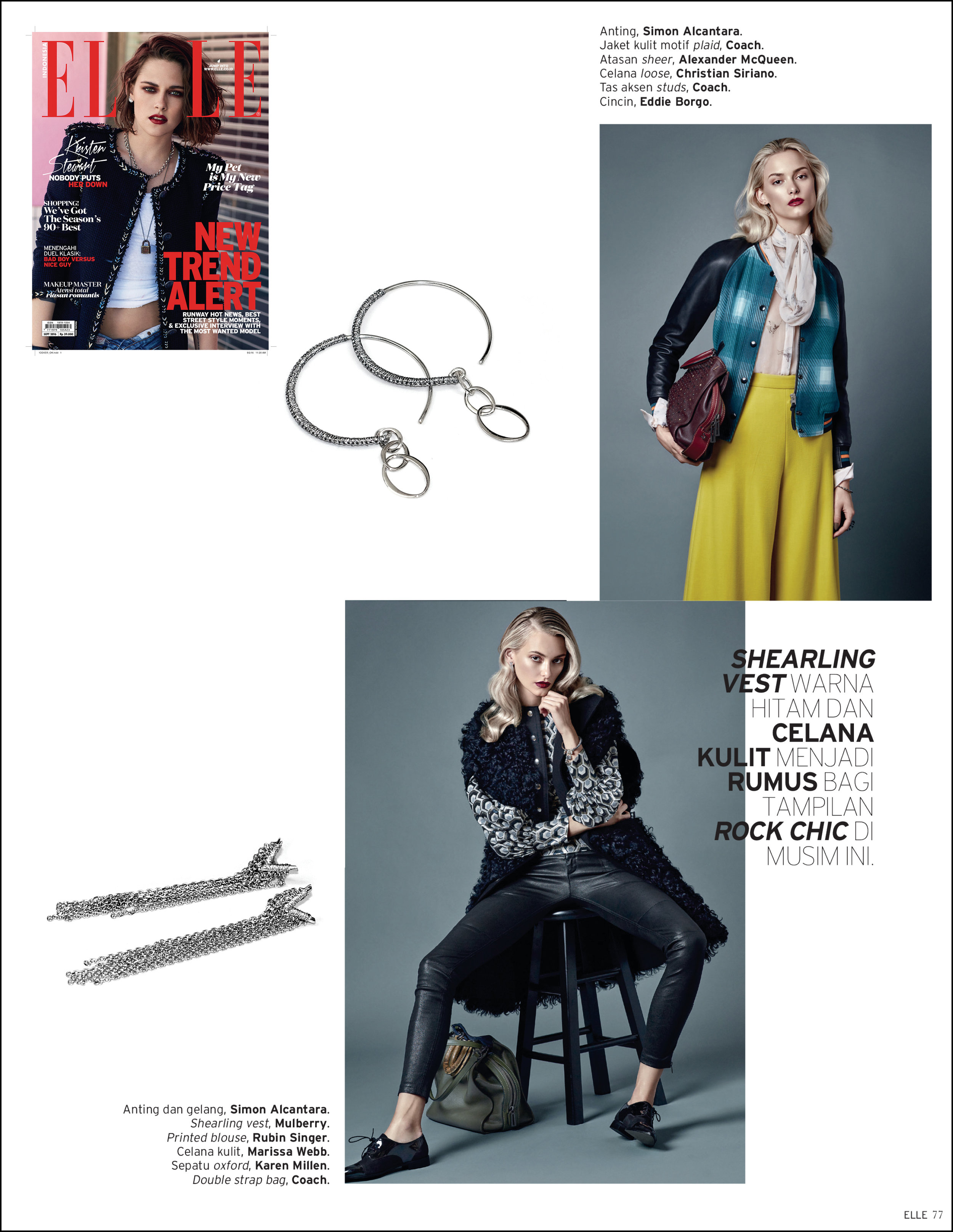 ELLE INDONESIA, SEPTEMBER 2016 ISSUE, SIMON ALCANTARA M31 ANDROMEDA COLLECTION EARRINGS, STYLED BY OSCAR MONTES DE OCA