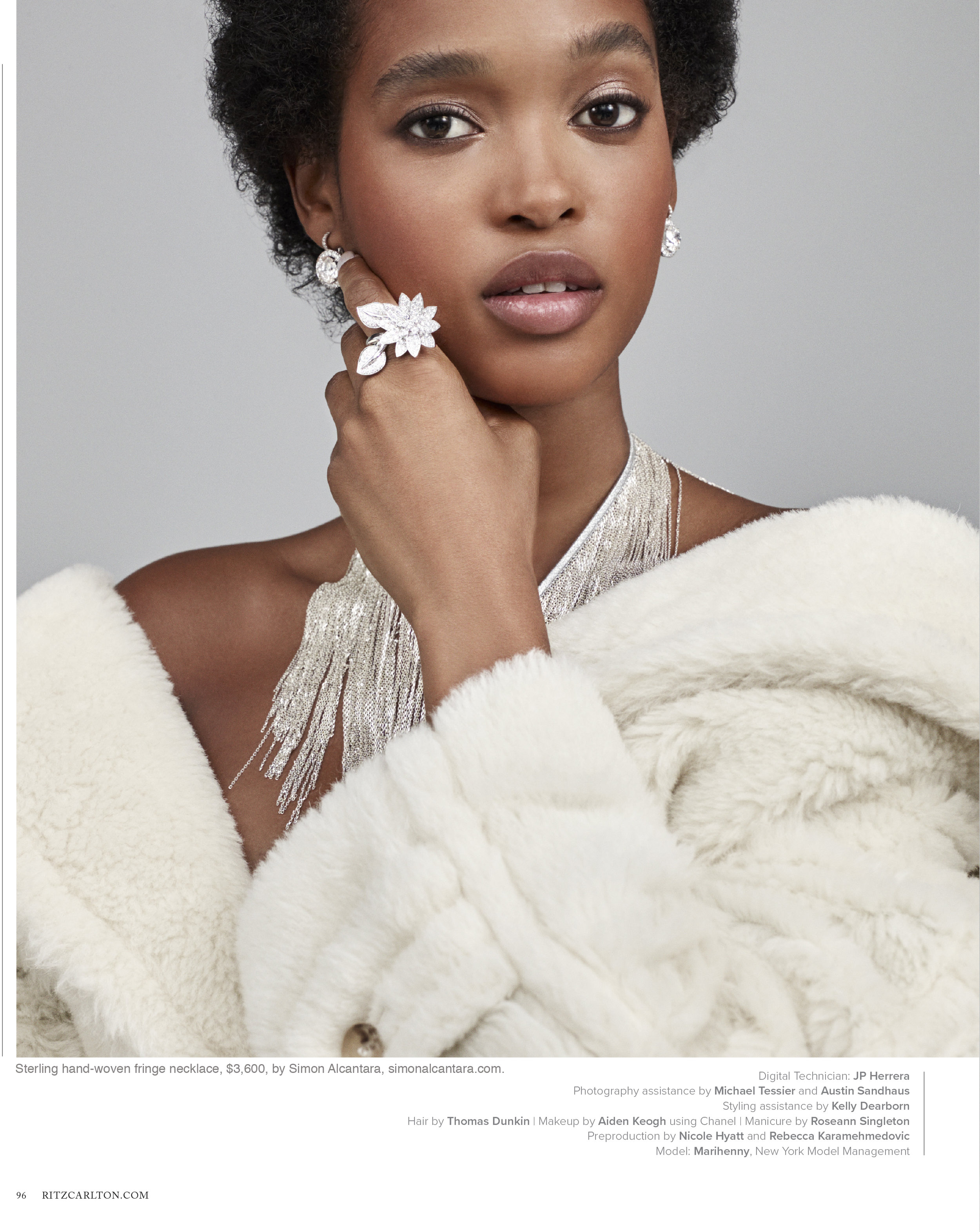 RITZ CARLTON MAGAZINE HOLIDAY ISSUE. PHOTO BY SIMON BURSTALL, STYLED BY MIMI LOMBARDO.  NECKLACE  BY SIMON ALCANTATARA