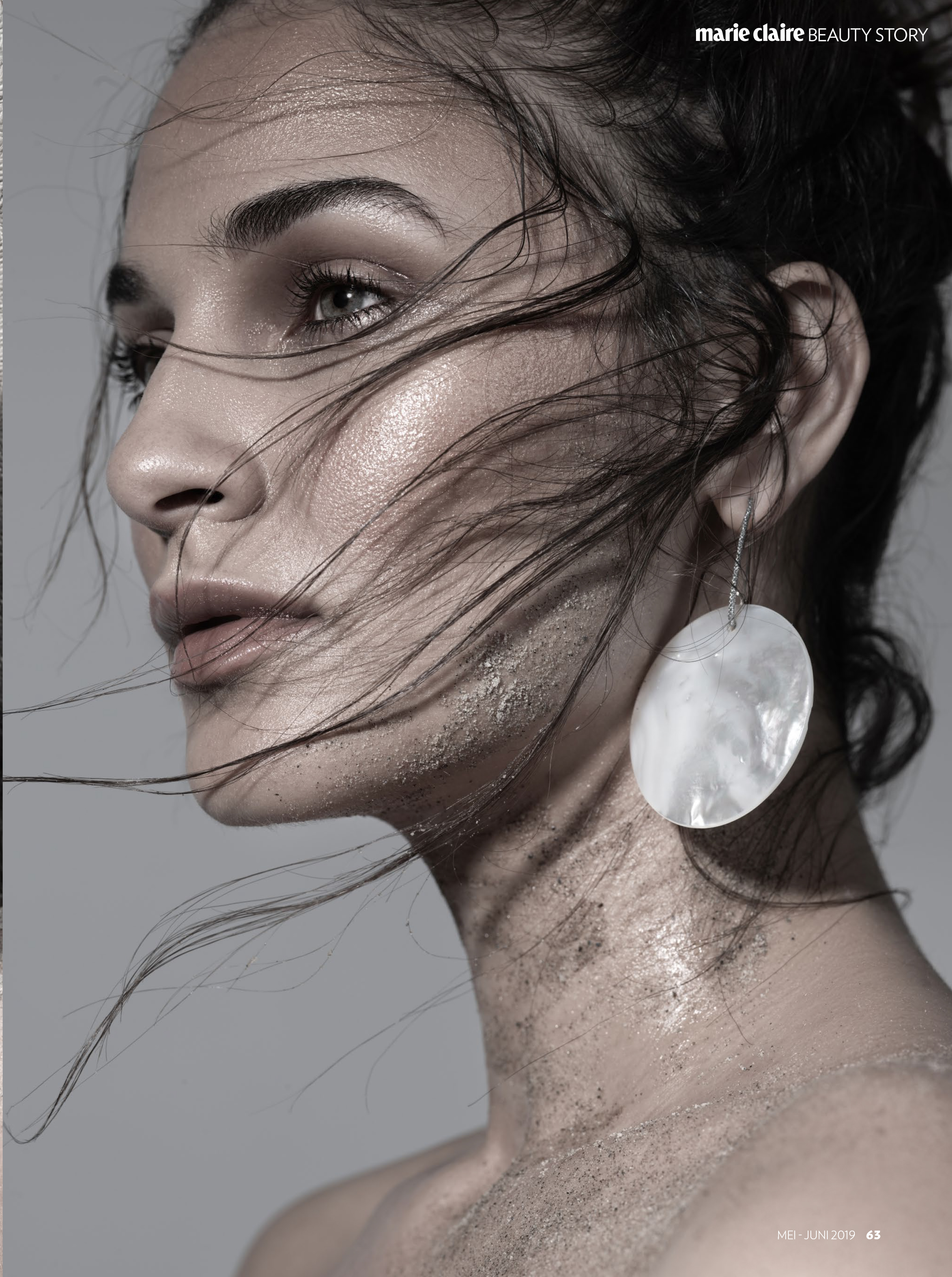 MARIE CLAIRE INDONESIA, MAY-JUNE ISSUE. PHOTOGRAPHY BY MATTHEW SCHAEFFER, STYLED BY OSCAR MONTES DE OCA.  SOUTH SEA MOTHER OF PEARL EARRINGS  BY SIMON ALCANTARA