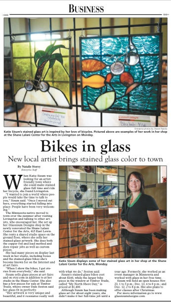 Recent Press in the Livingston Enterprise on 11/20/2013