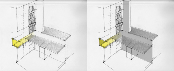 sketch of our remodeled desk area