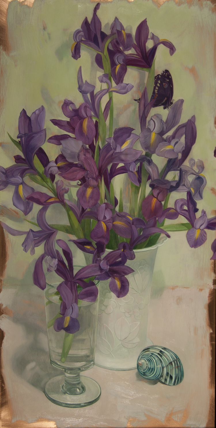 irises on white 2012    oil on copper   24 x 12 inches