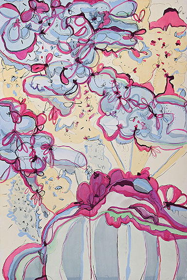selena beaudry  flips, twirls & whirls  gouache, watercolor + pencil on paper  60 x 40 inches