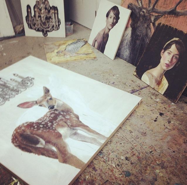 work in progress in sarah helser's studio