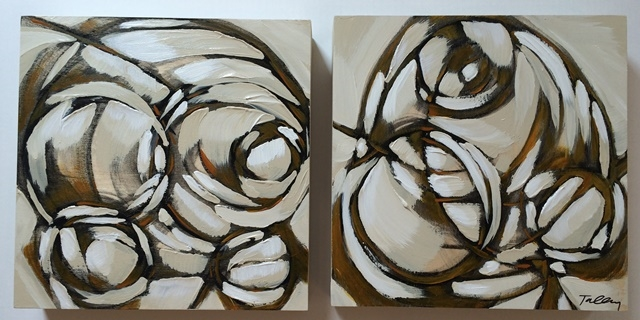 beyond i & ii 2014 mixed media on panel 12 x 12 inches each