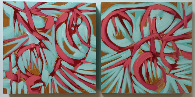 in her world i & ii 2014 mixed media on panel 12 x 12 inches each
