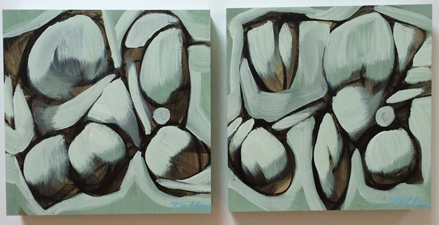 green matter i & ii mixed media on panel 10 x 10 inches each