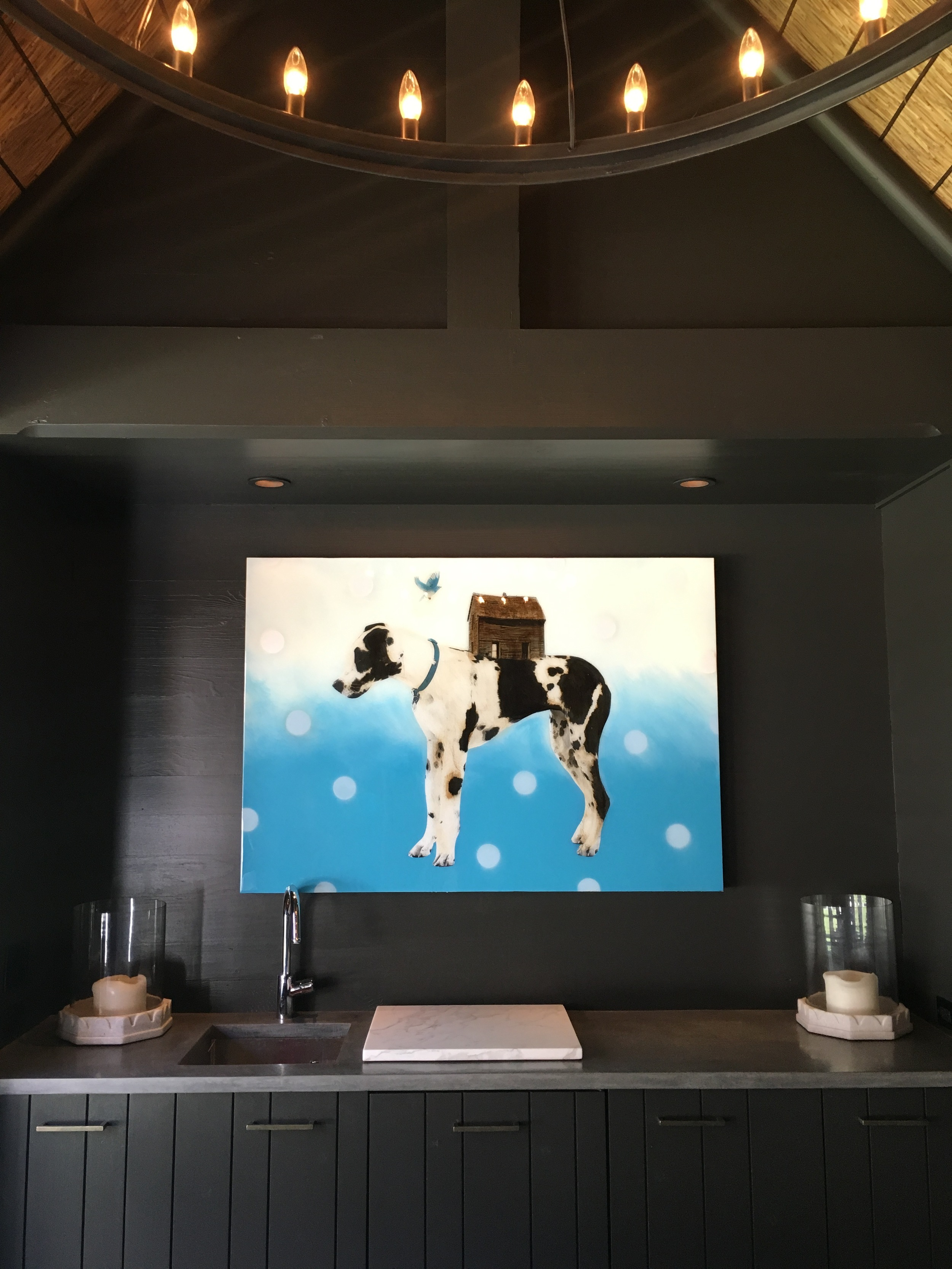 painting by anke schofield in collector's home in charlotte