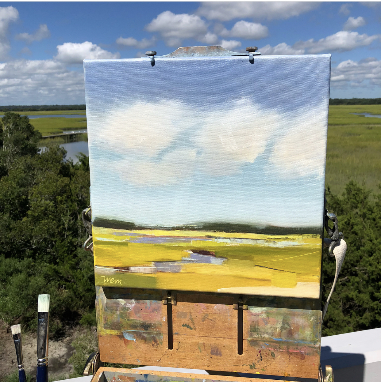 mary painting on site at figure eight island