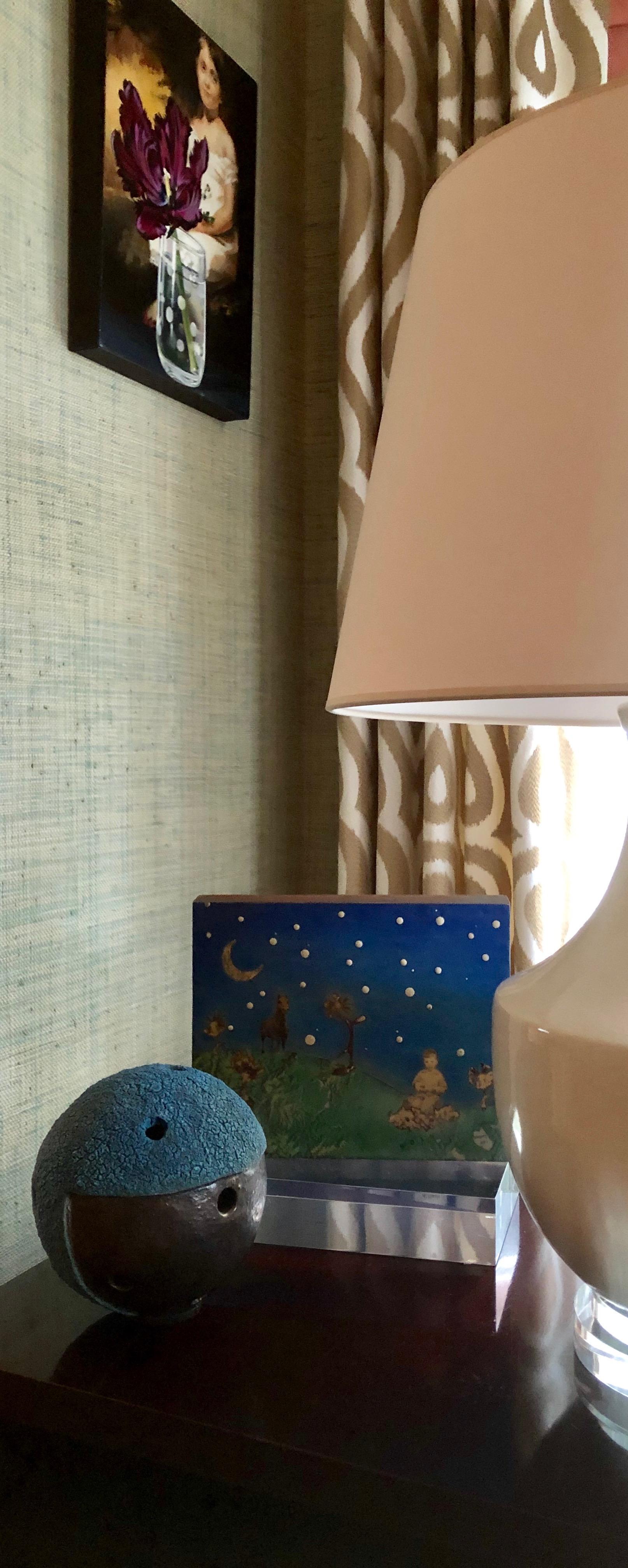 figurative work by sherrie wolf (hanging) + virginia scotchie ceramic sphere + encaustic by mirada lake