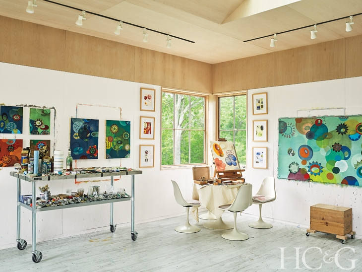 melinda hackett's  studio whose paintings are featured in INTRO 7