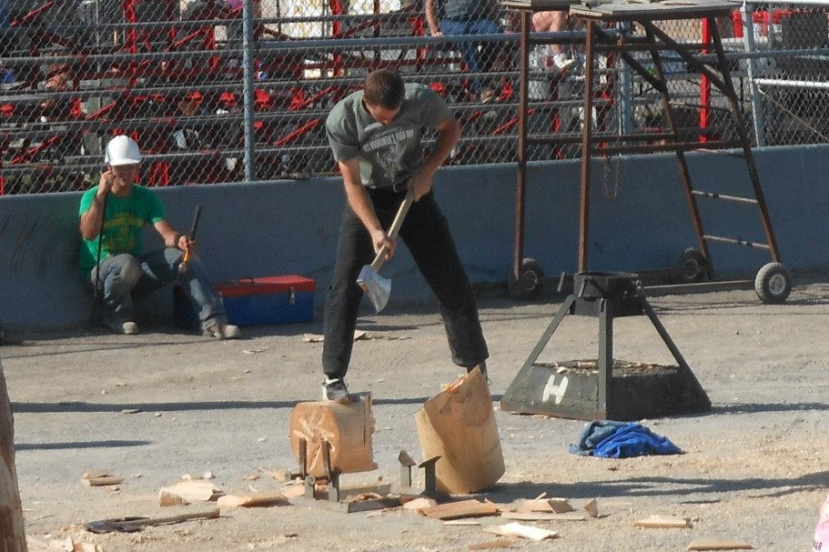 CHECK OUT BILLY COMPETING IN A LUMBERJACK SHOW.
