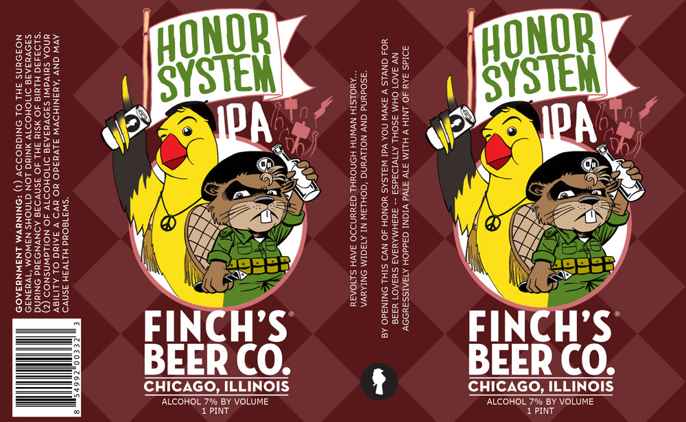 Honor System IPA from Finch Beer Co. design by Gaelan Kelly