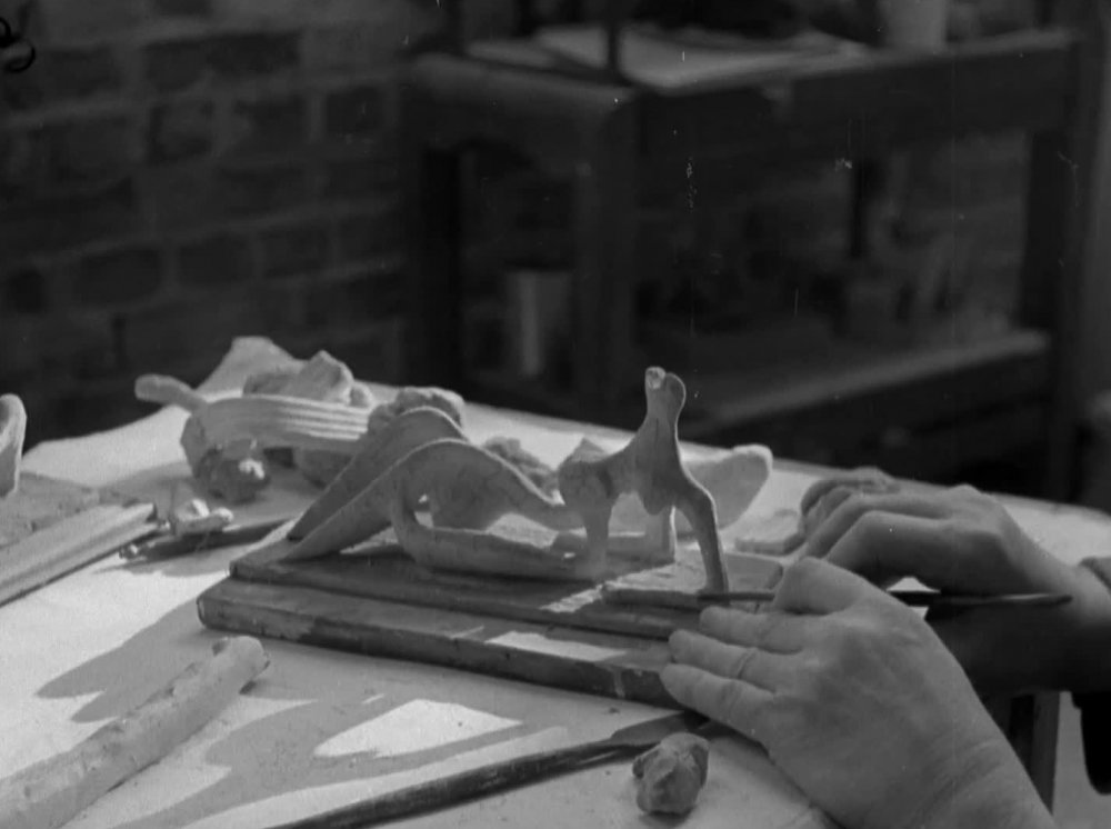 Sculptor Henry Moore at work. Image courtesy of the British Film Institute.