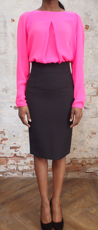 Malene Birger Maevac silk shirt $325, Malene Birger wrap pencil skirt $265.