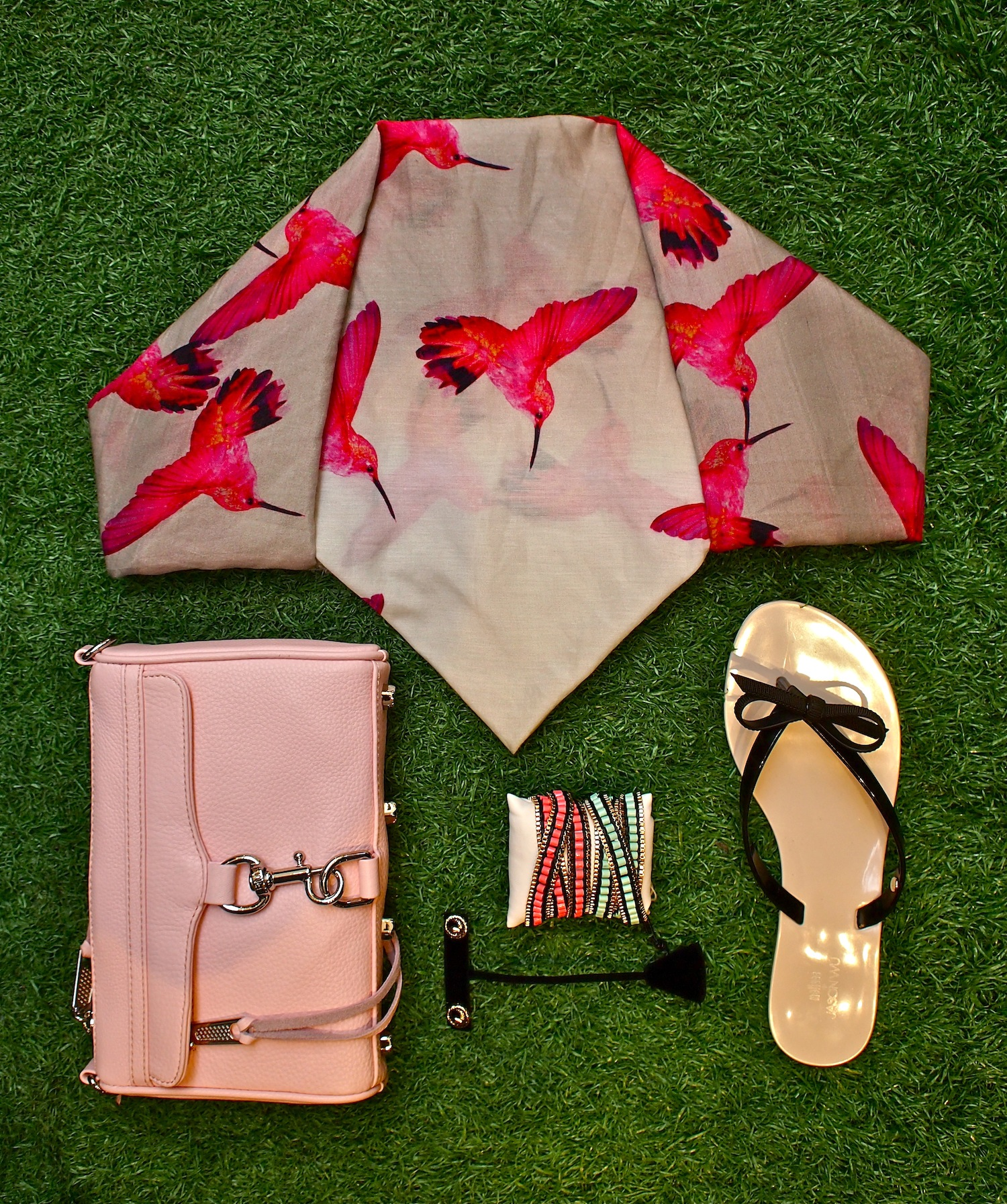 Melissa + Jason Wu Harmonic sandal with bow $78, Leigh & Luca Digital Hummingbirds scarf $259, Rebecca Minkoff Mini MAC $225, Jenny Bird Gypset triple wrap $85, Jenny Bird Serpent studs $40.