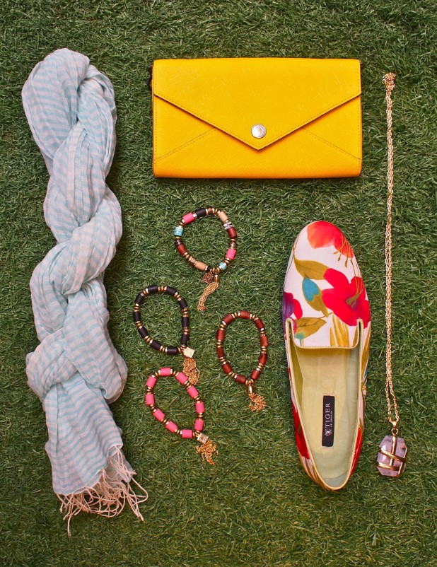 Tiger Of Sweden Katy leather slip-ons $209, Sammy Ambo Stripe scarf $110, Jenny Bird Tibetove tassel bracelet $54, ACDL large crystal necklace $55, Rebecca Minkoff Wallet On A Chain (removable chain) $225.