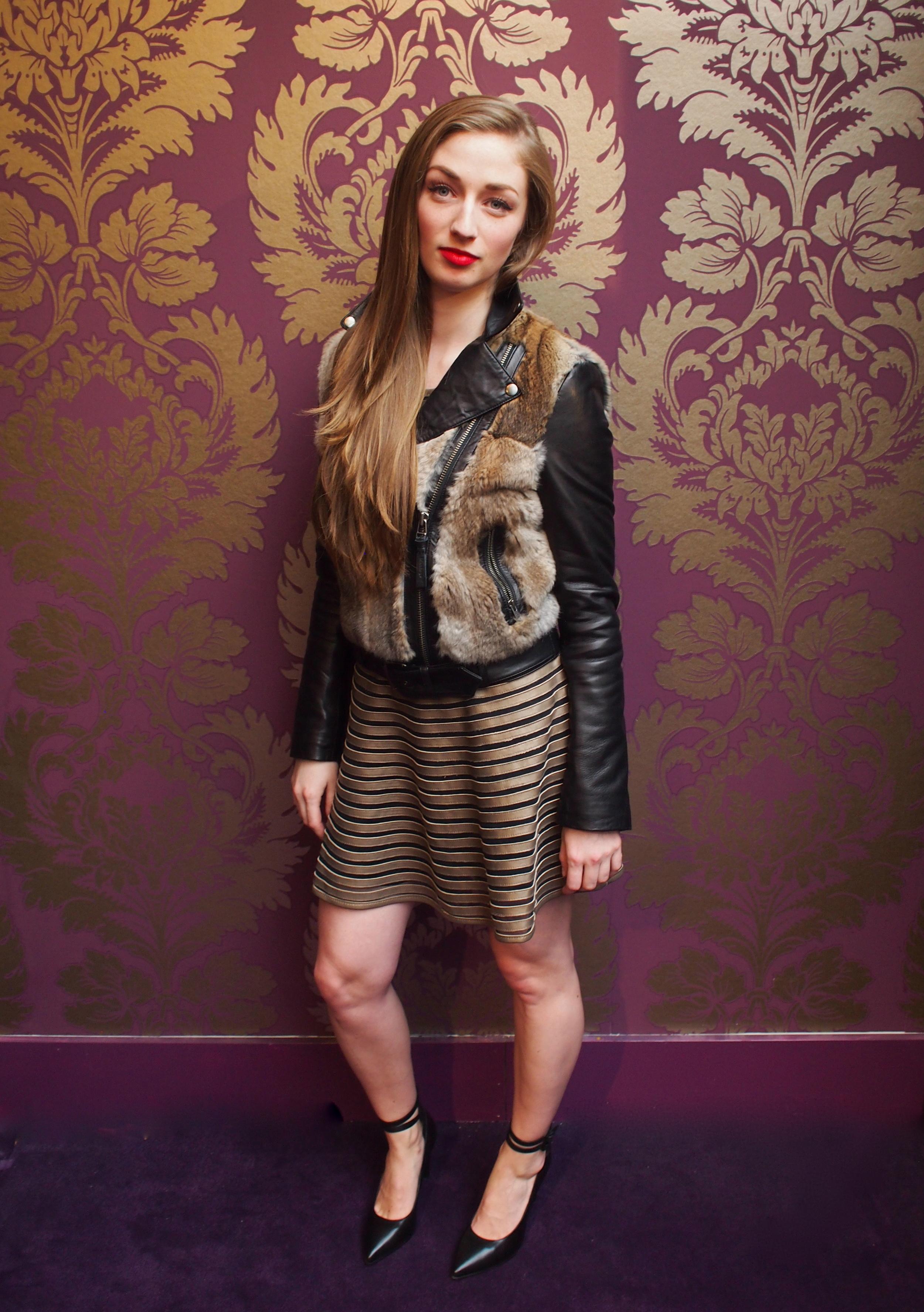 Parker - Key Dress $498, Mackage - Tamika Leather Jacket $950, Tiger of Sweden - Villma Pump $269