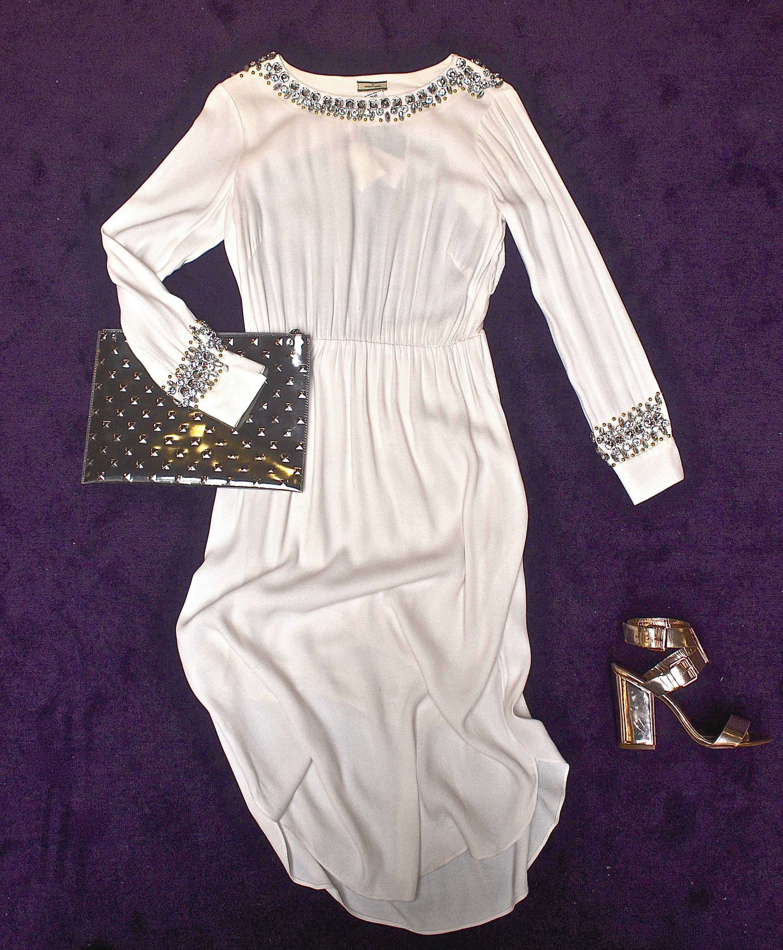 Malene Birger - Livisia Dress $895, Ela - Editors's Studded Pouch Silver $218, Ted Baker - Lissom Shoe Rose Gold $298