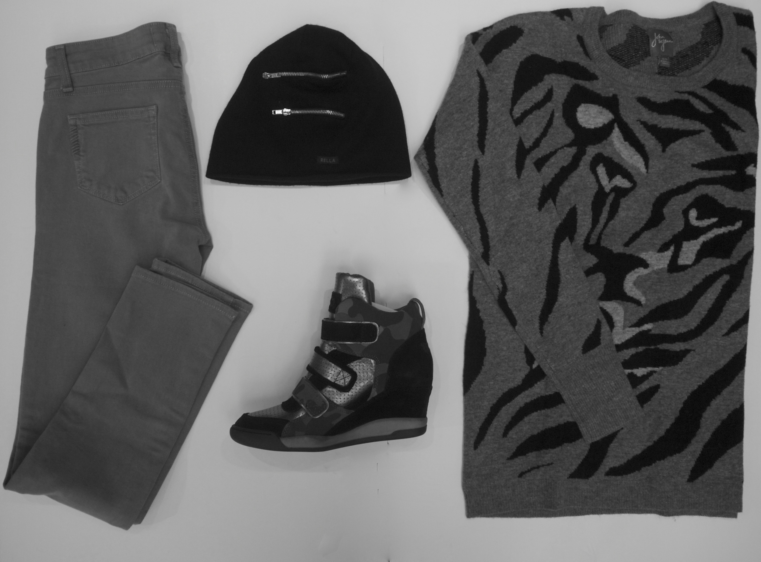 Paige - Skyline Pant $245, Rella - Zipper Touque $48, Ash - Alex Wedge Sneaker $240, John and Jenn - Angelica Tiger Face Sweater $149