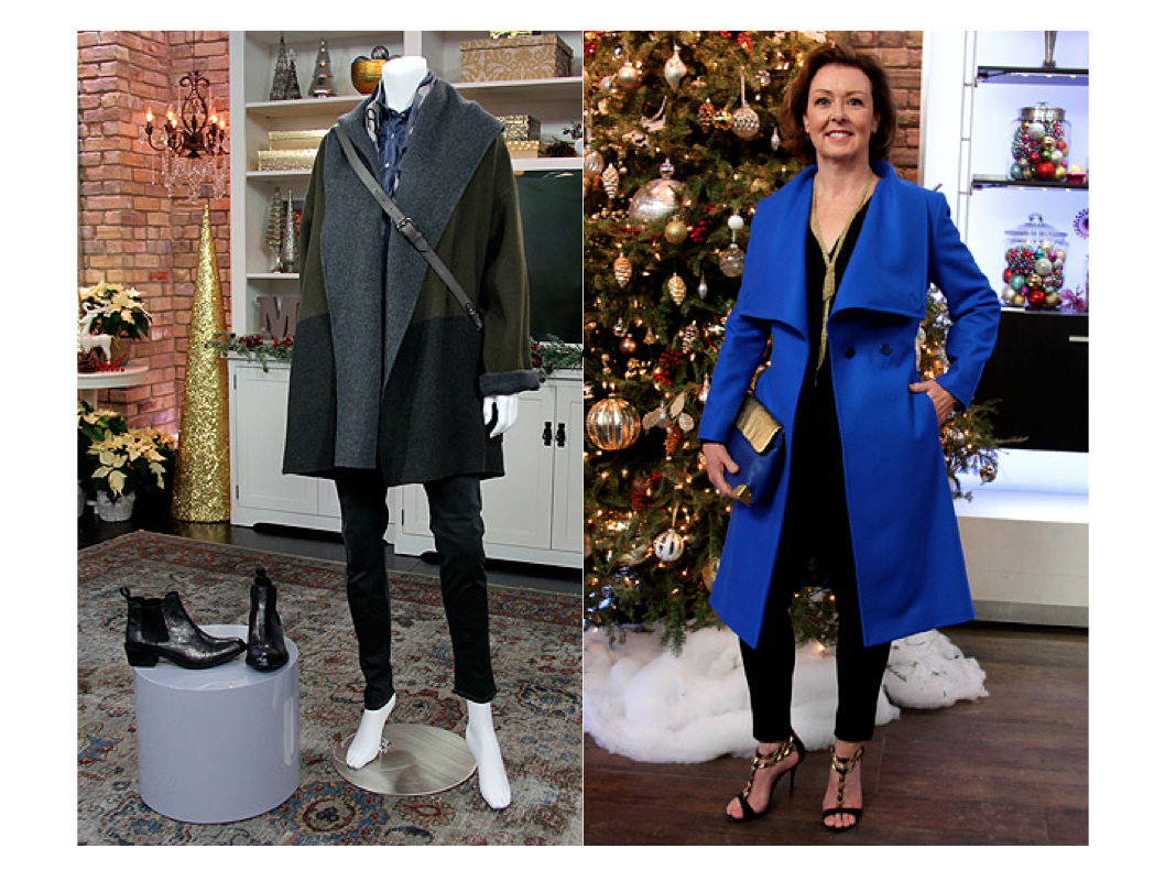 Jacket – Vince  $898   Sale Price $447.50 , Scarf – Leigh and Luca $250, Shirt – Benson  $125   Sale Price $62.50 , Bag – Rebecca Minkoff  $348   Sale Price $174 , Pant – Paige Denim  $258   Sale Price $129 , Boots – Dolce Vita  $265   Sale Price $132.50     Jacket – Ted Baker $595  Sale Price $297.50 , Top – Tiger $249.00  Sale Price $124.50 , Pant – Paige Ponte Pant $350  Sale Price $175.00 , Necklace-Aann $195, Shoes – Schutz $250.00  Sale Price $125.00 , Clutch – Golden Lane $299