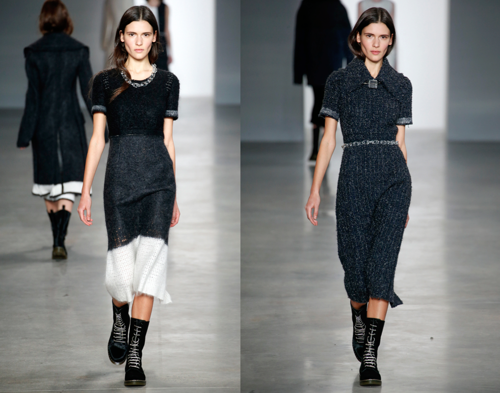 Calvin Klein's Fancisco Costa created this fall collection primarily around mohair and yarn. His idea of the swearer dress takes on an architectural quality that will keep you cozy and comfortable for fall.